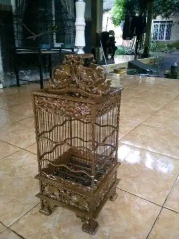kandang burung kecil dari kayu jati